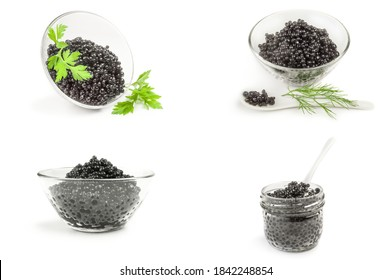 Set of sturgeon black caviar isolated on a white background with clipping path