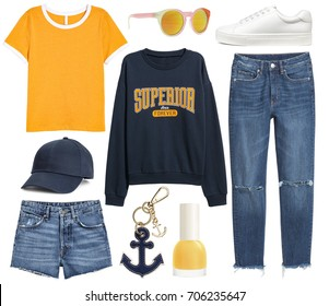 Set of stylish clothes, collection collage of women's clothing