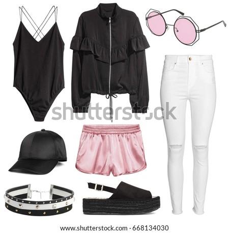 Set Stylish Clotheswoman Trendy Fashion Clothes Stock Photo Edit