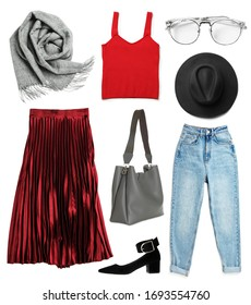 Set of stylish female clothes and accessories on white background