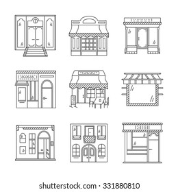 Set of stylish flat line design icons for commercial buildings facade. Showcase and storefronts. Elements of web design for business and site.