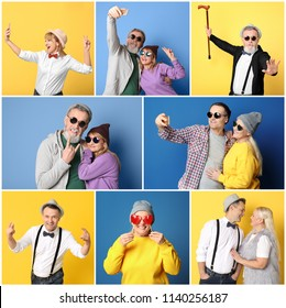 Set with stylish funky pensioners on color background