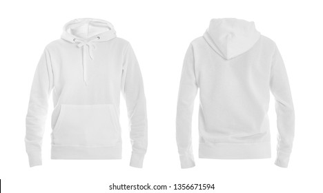 Set of stylish hoodie sweater on white background, front and back view. Space for design