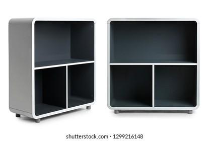 Set of stylish shelving units isolated on white. Furniture for wardrobe room