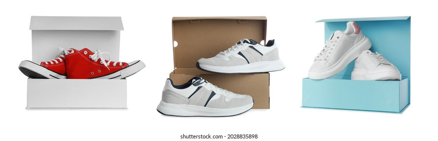 Set with stylish shoes and cardboard boxes on white background. Banner design