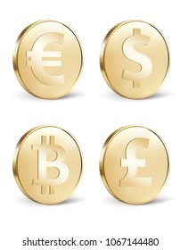 Set of stylized golden coin with currency symbols: dollar, euro, pound and bitcoin signs. 3d illustration