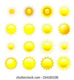 Set of stylized yellow, orange and red sun isolated on white background, element of design.