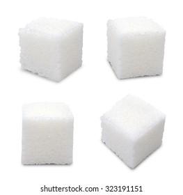 Set of sugar cubes on white background
