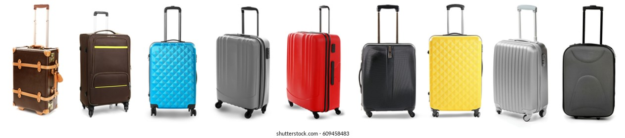 Set of suitcases on white background