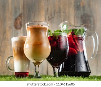 set of summer drinks