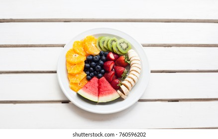 Set of summer. Fresh fruit plate, top view from above.