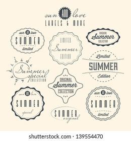Set of summer related vintage labels
