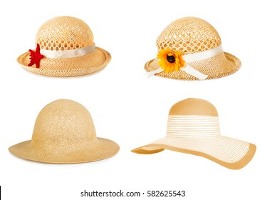 Set the summer straw hat isolated on white background