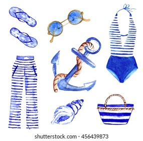 set of summer,painted a watercolor,summer clothing,sea