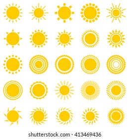 set of sun icons isolated on white background. Creative yellow sunlight symbols. Elements for weather forecast design. Solar system. Sunrise And sunset. Editable items. Flat design graphic.