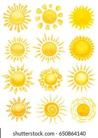 set of sun on white. hand drawn illustration