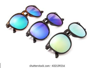 set sunglasses isolated on white background