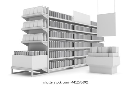 set of supermarket shelves with blank products and hanger 3D rendering