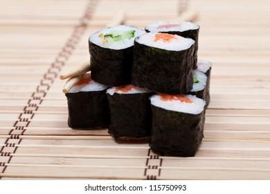 set sushi with chopsticks on bamboo mat. japanese cuisine