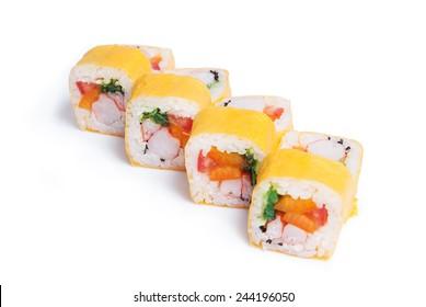 Set of sushi maki food isolated on white background