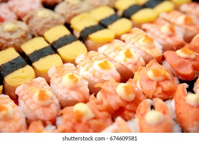 Set of Sushi, original style Japanese food, colorful and exquisite arrangement in rows