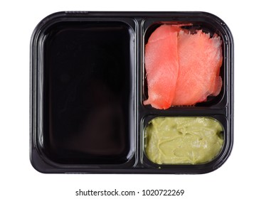 Set for sushi soy sauce ginger wasabi on white background isolation