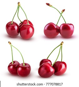 Set sweet cherry berry. Two and three on a branch with springs isolated on white background. Clipping Path. Full depth of field.