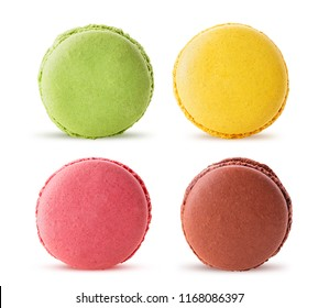 Set sweet colorful macarons isolated on white background. Clipping Path. Full depth of field.