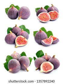 Set of sweet figs fruits isolated on white backgrounds.