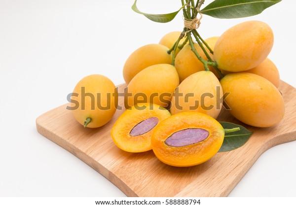 Set of sweet Marian plum Thai fruit isolated on white background (Mayongchid Maprang Marian Plum and Plum Mango,Thailand).