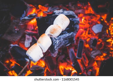 Set of sweet marshmallows roasting over red fire flames. Marshmallow on skewers roasted on charcoals
