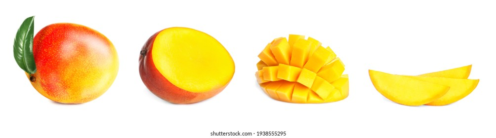 Set with sweet ripe mangoes on white background. Banner design