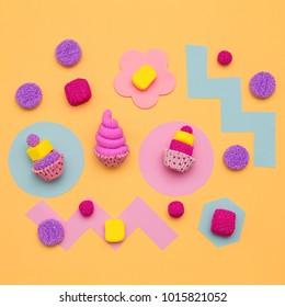 Set of sweets. Candy mood. Minimal Flatlay art