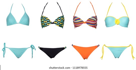 set of swimsuits or bikini isolated on white background. New summer fashion. Colorfull and sexy, Trendy bikini