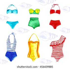 a set of swimwear,painted a watercolor,summer clothing