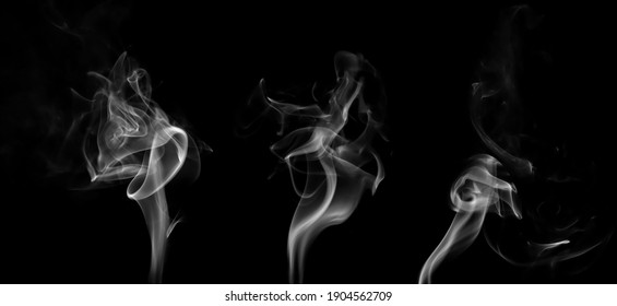 Set swirling movement of white smoke group, abstract line Isolated on black background
