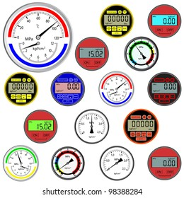 set of switches  and digital manometers. Vector version also available in portfolio.