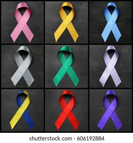 Set of symbolic ribbons on dark background