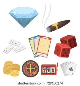 The set of symbols casino games. Gambling for money. Chips, dominoes, casino. Casino and gambling icon in set collection on cartoon style bitmap, raster symbol stock illustration.