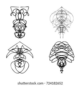 Set of symmetrical graphic design elements. Abstract geometric hand drawn symbols styles shapes. Occultism, sacred geometry magic alien.