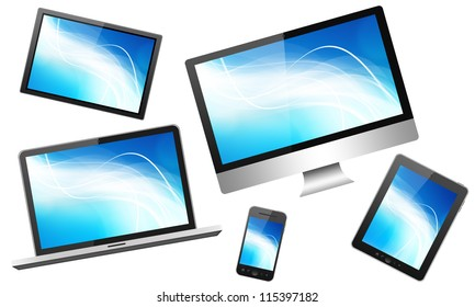 Set with tablet pc, mobile phone and different digital devices