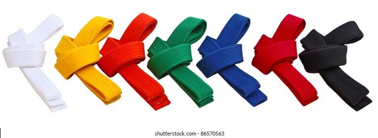 Set of Tae Kwon Do Belts isolated on white