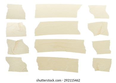 Set of tape pieces isolated on white