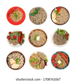 Set of tasty buckwheat porridge with different ingredients on white background, top view