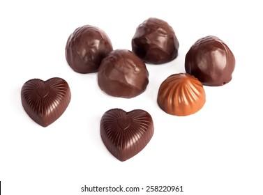 Set of tasty chocolates isolated on a white background
