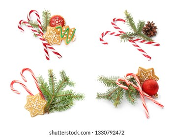Set of tasty Christmas candy canes on white background