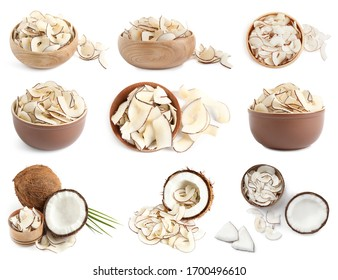 Set of tasty coconut chips and nuts isolated on white, top view