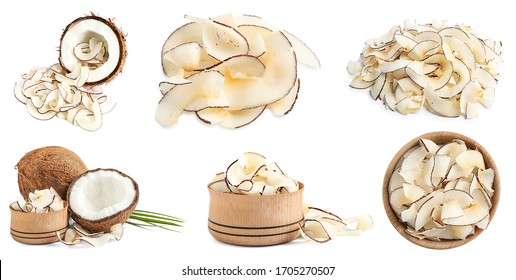Set of tasty coconut chips and nuts isolated on white