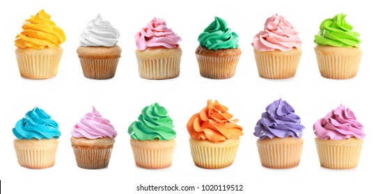 Set of tasty colorful cupcakes on white background