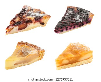 Set of tasty pies isolated on white. Apple pie, Pear pie, Plum pie, Blackberry pie
